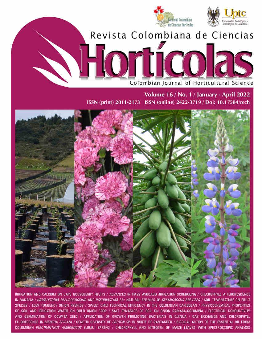 Órgano de divulgación de la Sociedad Colombiana de Ciencias Hortícolas y de la Facultad de Ciencias Agropecuarias, Universidad Pedagógica y Tecnológica de Colombia